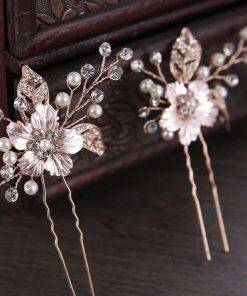 Floral Rose Gold Hair Pin with Pearls Hair Accessories
