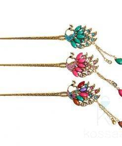 Bright Peacock Rhinestone Hair Pin Hair Accessories