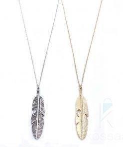 Women's Boho Feather Shaped Pendant Necklace Boho