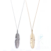 Women's Boho Feather Shaped Pendant Necklace Boho