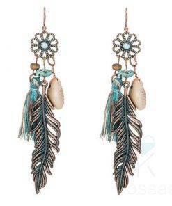 Boho Style Leaf Tassel Earrings Boho