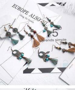 Boho Style Leaf Tassel Earrings Boho
