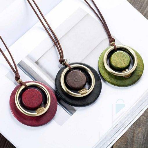 Boho Round Wooden Pendant Necklace Boho