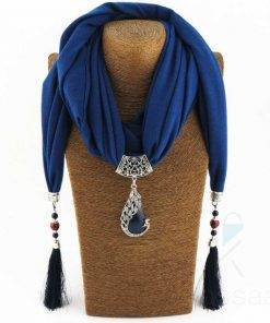 Women's Scarf Pendant Necklace with Nature Stone Necklace