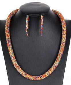 Luxury Party Earrings & Statement Necklace Jewelry Set Necklace