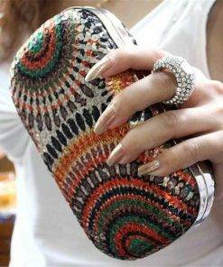 Women's Boho Style Crystal Clutch Bags
