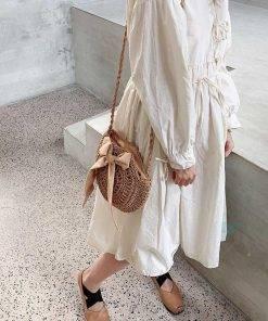 Women's Woven Round Shaped Handbag Bags