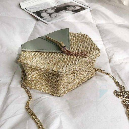 Women's Hexagon Shaped Straw Bag Bags