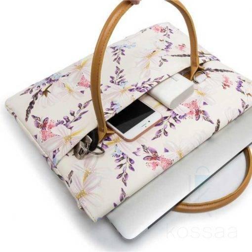 Exquisite Flowers Printed Waterproof Canvas Laptop Bag