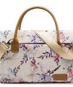Exquisite Flowers Printed Waterproof Canvas Laptop Bag