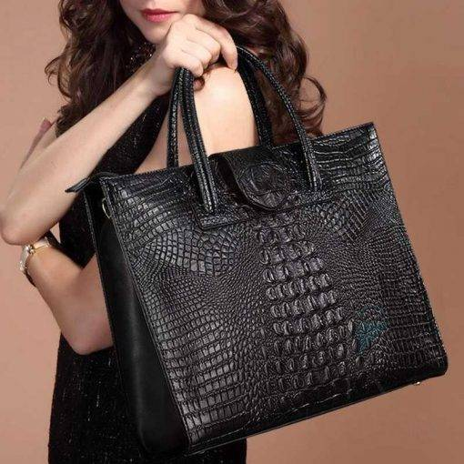 Crocodile Skin Pattern Women's Genuine Leather Laptop Handbag