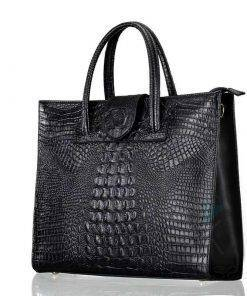 Crocodile Skin Pattern Women's Genuine Leather Laptop Handbag