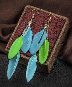 Drop Earrings with Feathers Earrings
