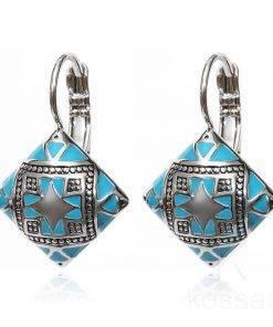 Stylish Ethnic Square Enameled Women's Earrings Earrings