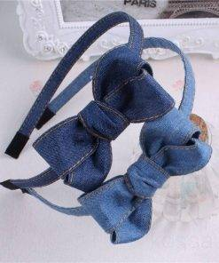 Cute Denim Headband with Bow Hair Accessories