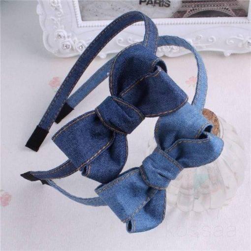Cute Denim Headband with Bow Hair Accessories