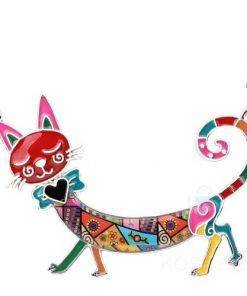 Enamel Necklace with Cat Pendant Necklace