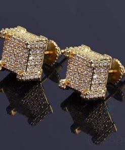 Shiny Rhinestone Inlaid Square Stud Earrings Earrings