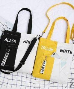 Women's Stylish Two Tone Canvas Tote Bag Bags