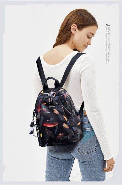 Anti-Thief Feather Printed Backpack Bags & Wallets Everyday Bags